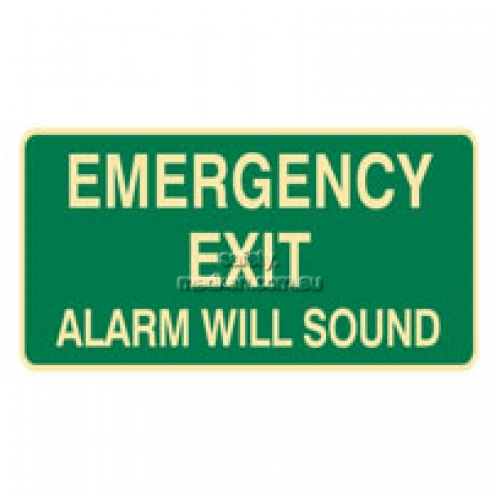 View Emergency Exit, Alarm Will Sound, Sign details.