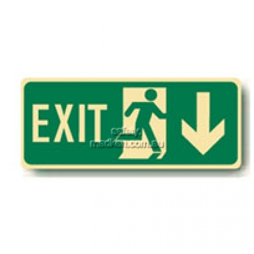 View Exit Floor Sign, Running Man Arrow Down details.