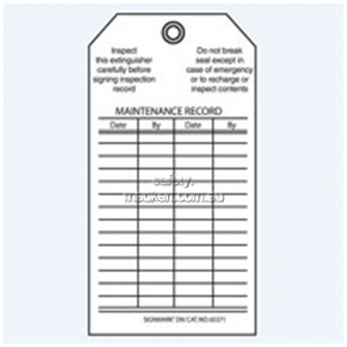 View Brady 65371 Fire Extinguisher Recharge and Maintenance Record Tags  details.