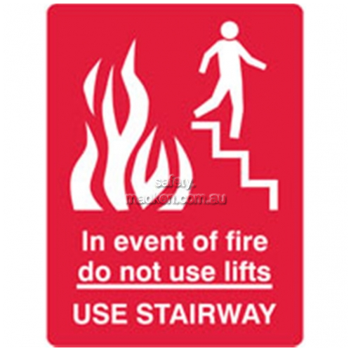 View Brady 84107 In Event of Fire Do Not Use Lift Sign details.