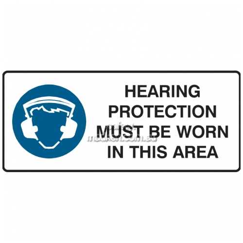 View Hearing Protection Must Be Worn in This Area Sign details.