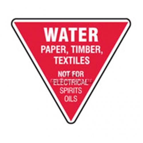 View Water Paper Timber Textiles Fire Extinguisher Sign details.