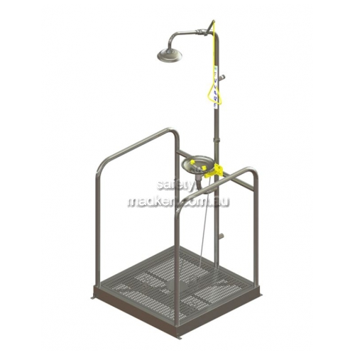 View Platform Shower and Eye Wash, Hand Operated, Free Standing details.