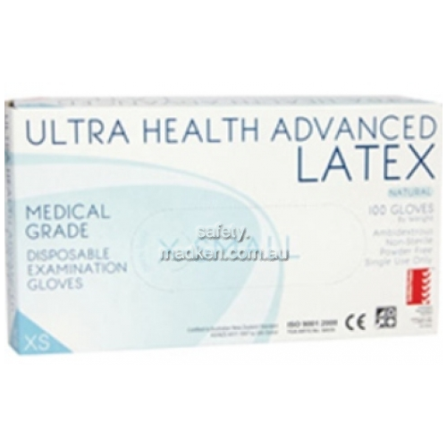 ULTRA HEALTH   Disposable Gloves, Powdered, Latex, Large