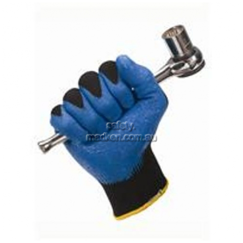 View G40 Foam Nitrile Gloves Black and Blue details.